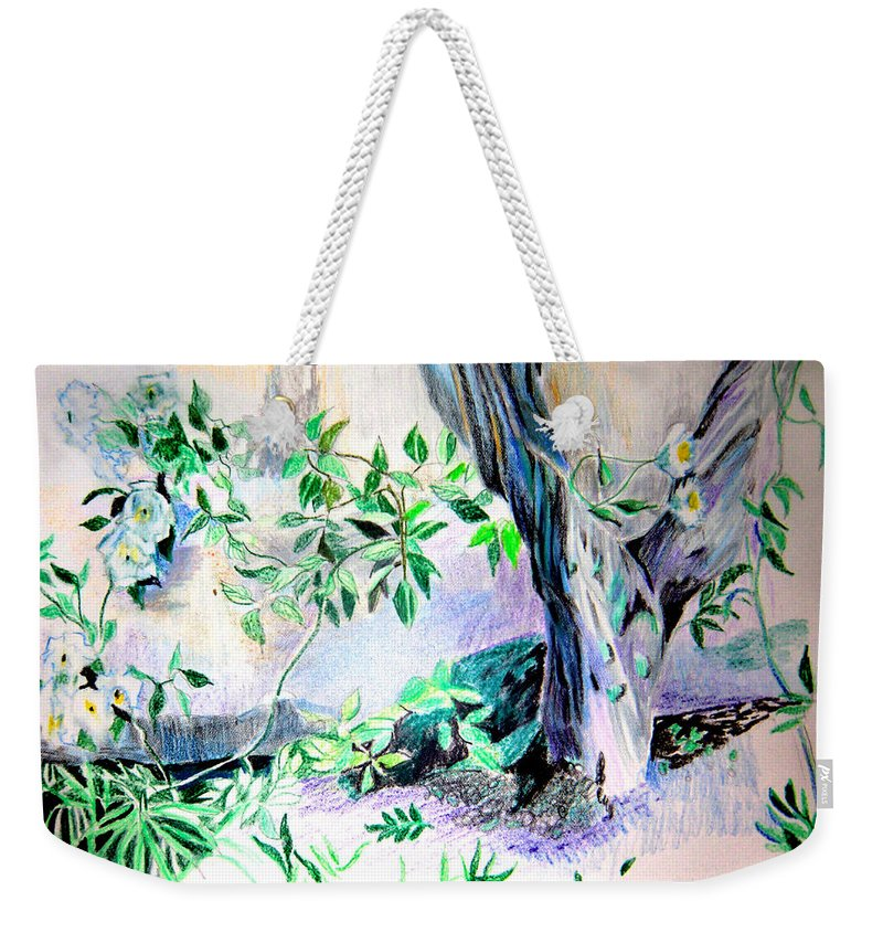 Tree Weekender Tote Bag featuring the drawing White Roses by Mindy Newman