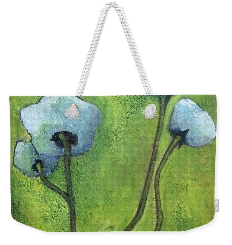 Abstract Weekender Tote Bag featuring the painting White Roses by Vesna Antic
