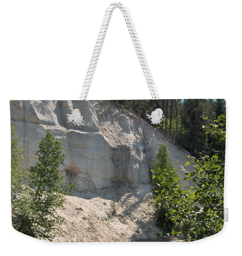 River Sand Cliffs Clear Water Evergreens Trees Natural Beauty Shore Piprell Lake Saskatchewan Weekender Tote Bag featuring the photograph White Sands Cliff by Andrea Lawrence
