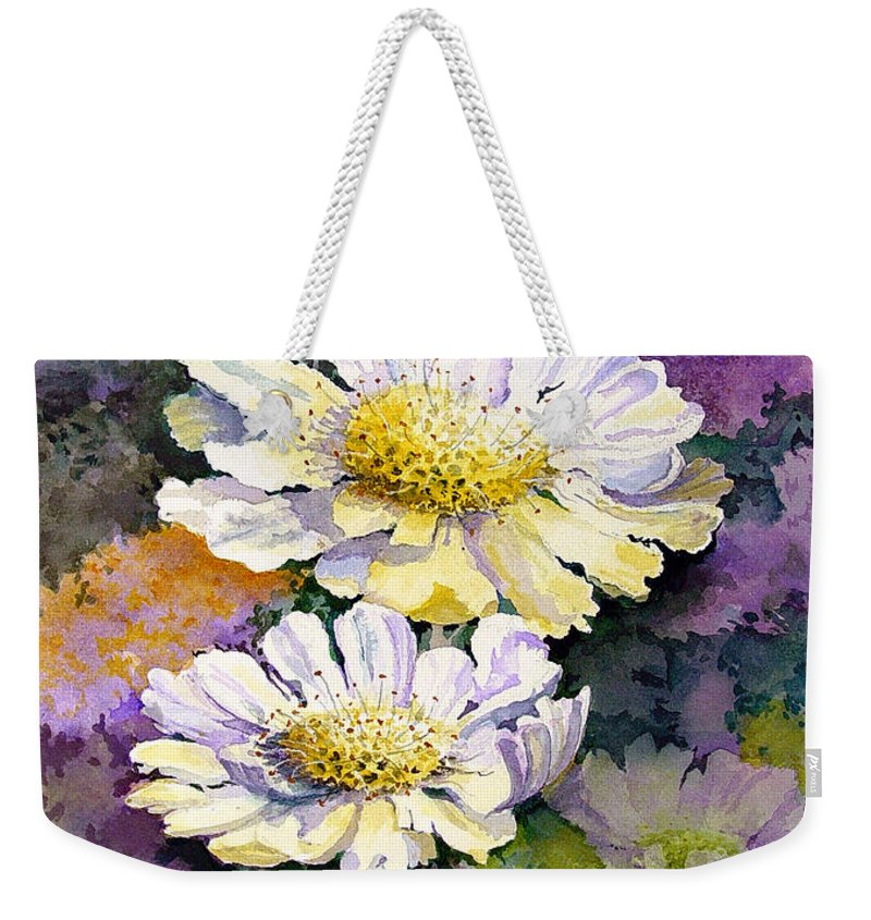 Flower Weekender Tote Bag featuring the painting White Scabious by Sam Sidders