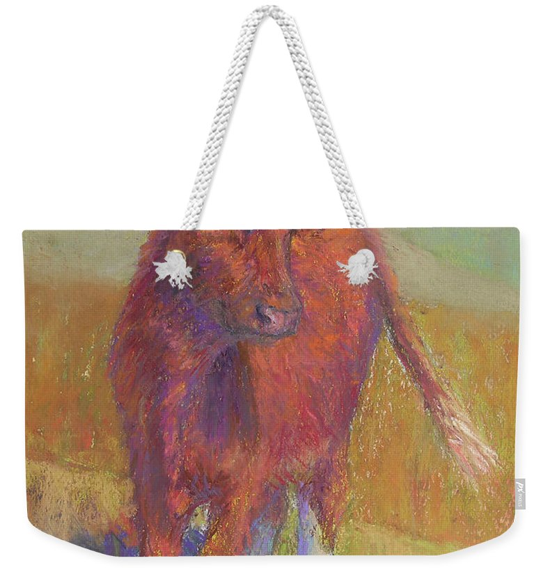 Cows Weekender Tote Bag featuring the painting White Socks by Susan Williamson