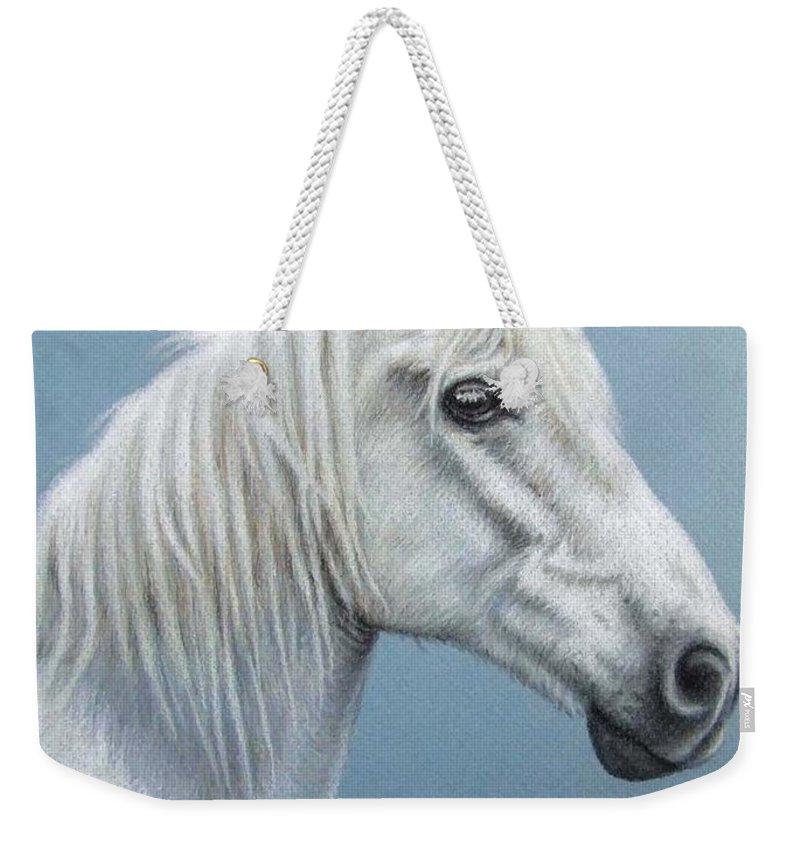 Horse Stallion White Pferd Portrait Animal Realism Pastel Weekender Tote Bag featuring the pastel White Stallion by Nicole Zeug