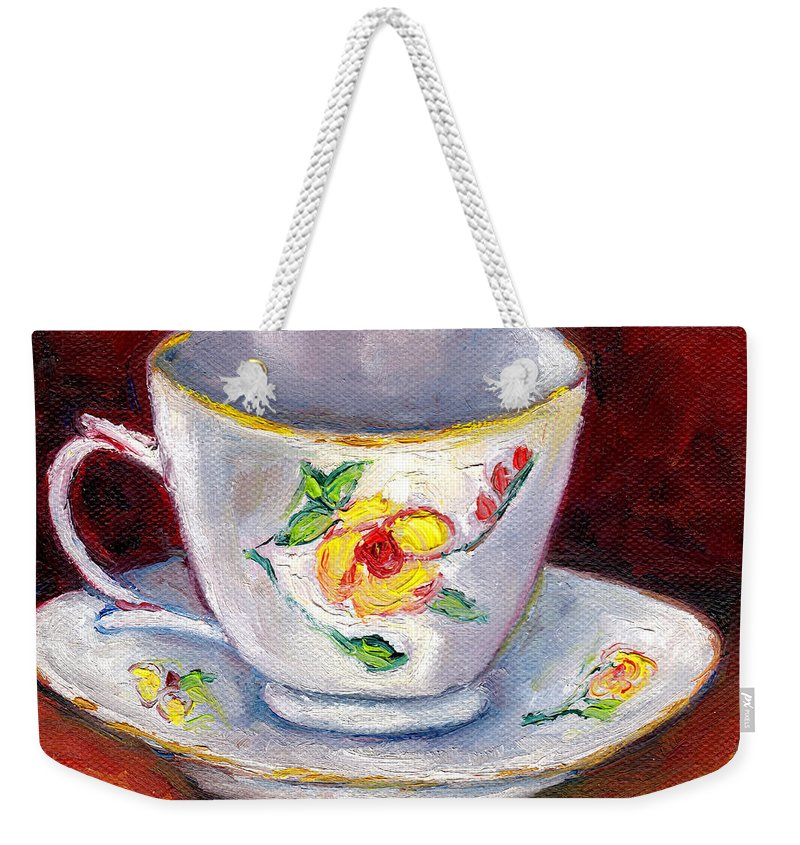Still Life Weekender Tote Bag featuring the painting White Tea Cup With Yellow Flowers Grace Venditti Montreal Art by Grace Venditti