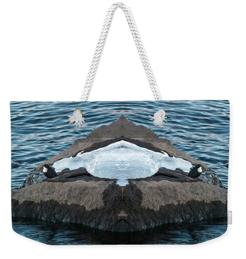 Photoshopped Weekender Tote Bag featuring the photograph White-throated Dipper Mirrored by Jouko Lehto