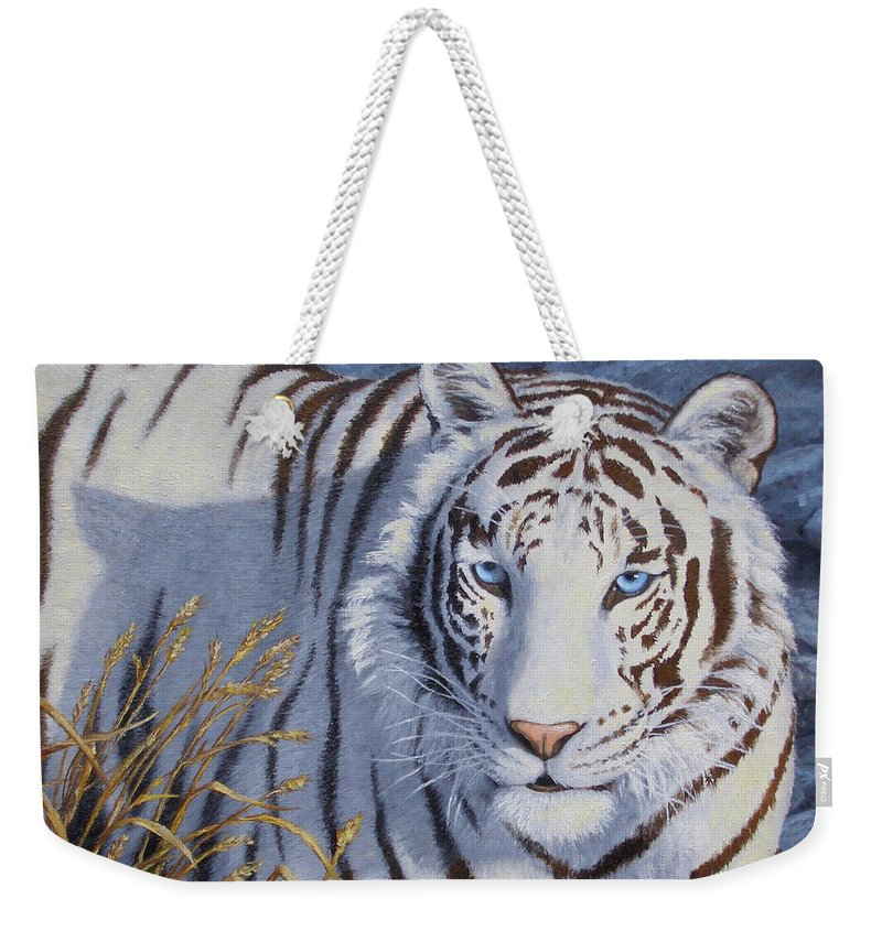 Cat Weekender Tote Bag featuring the painting White Tiger - Crystal Eyes by Crista Forest