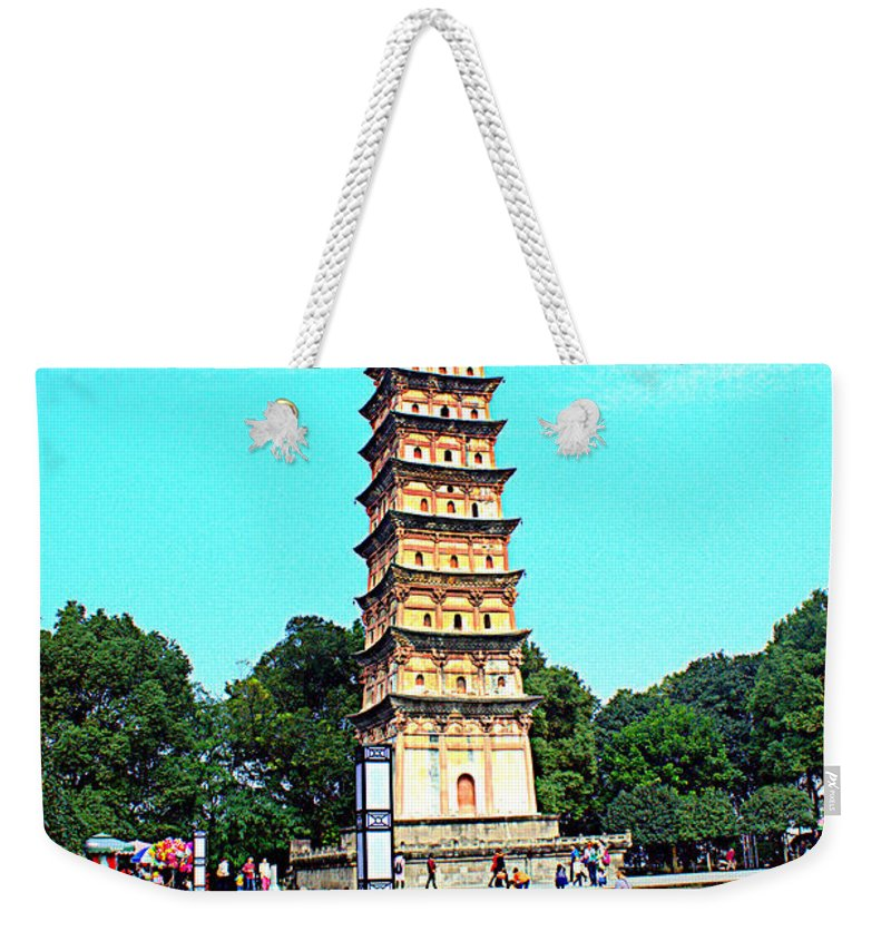 China Weekender Tote Bag featuring the photograph White Tower by Chad Rathwell