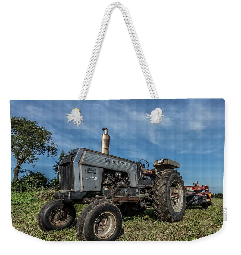 White Weekender Tote Bag featuring the photograph White Tractor by Thomas Visintainer