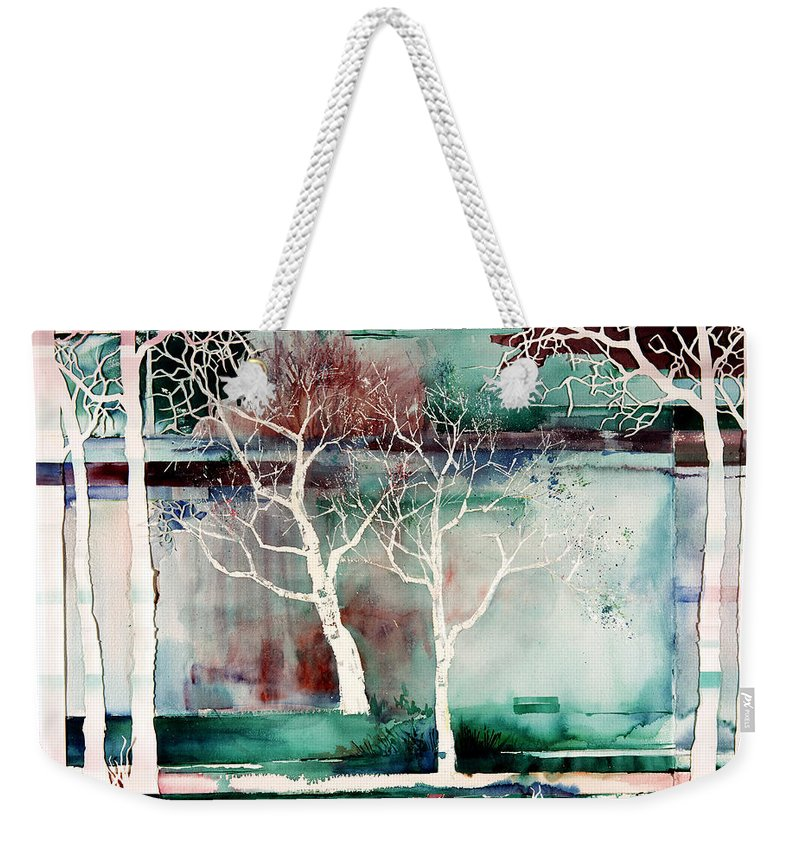 Trees Weekender Tote Bag featuring the painting White Trees by Connie Williams