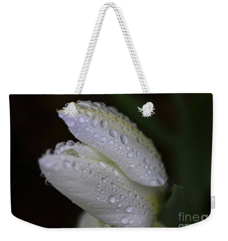 White Weekender Tote Bag featuring the photograph White Tulip Macro by Deborah Benoit