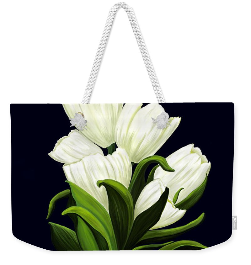 Mixed Media Weekender Tote Bag featuring the painting White Tulips by Patricia Griffin Brett