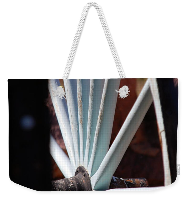 Wheel Weekender Tote Bag featuring the photograph White Wheels Are Rolling by Susanne Van Hulst