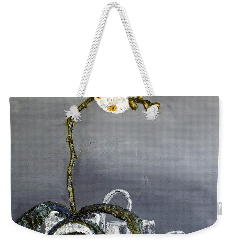 Still Life Paintings Weekender Tote Bag featuring the painting White Wild Orchid by Leslye Miller