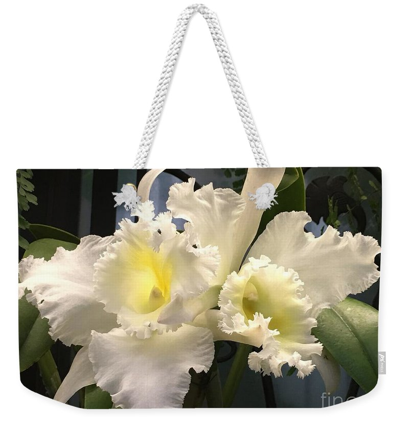 Art Weekender Tote Bag featuring the photograph White With Yellow Orchids by Jeannie Rhode