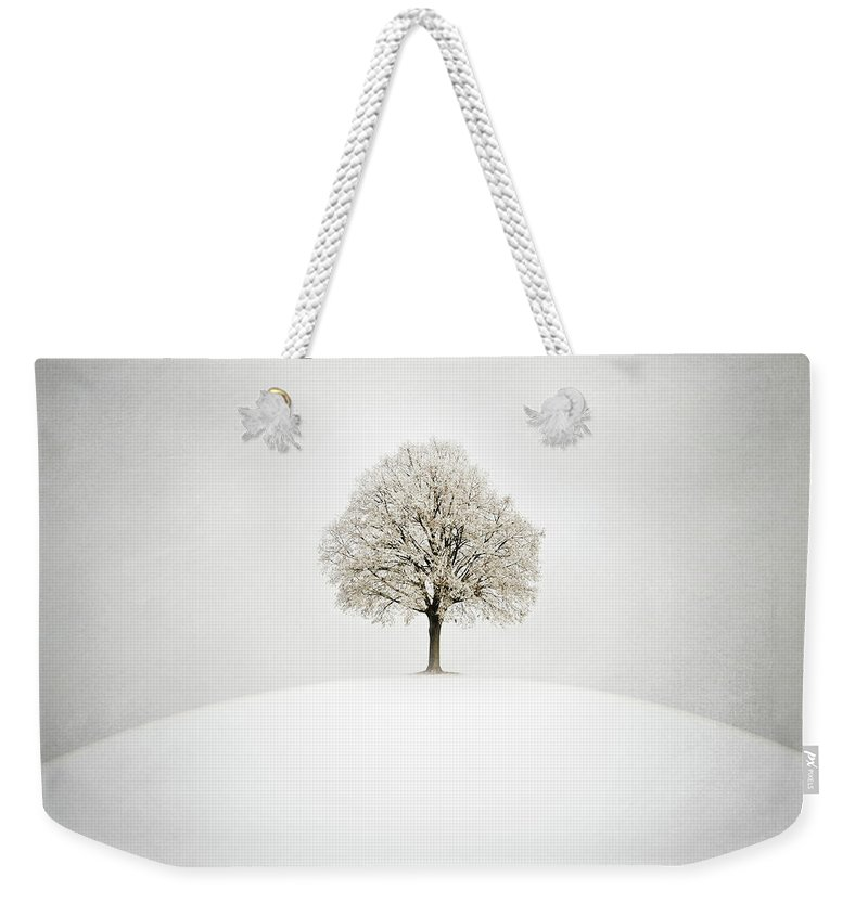 Winter Weekender Tote Bag featuring the digital art White by Zoltan Toth