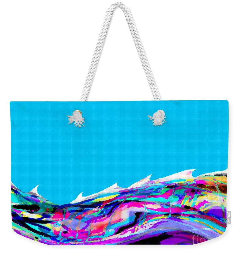 White Cap Toppped Rolling Sea Weekender Tote Bag featuring the digital art Whitecaps by Expressionistart studio Priscilla Batzell