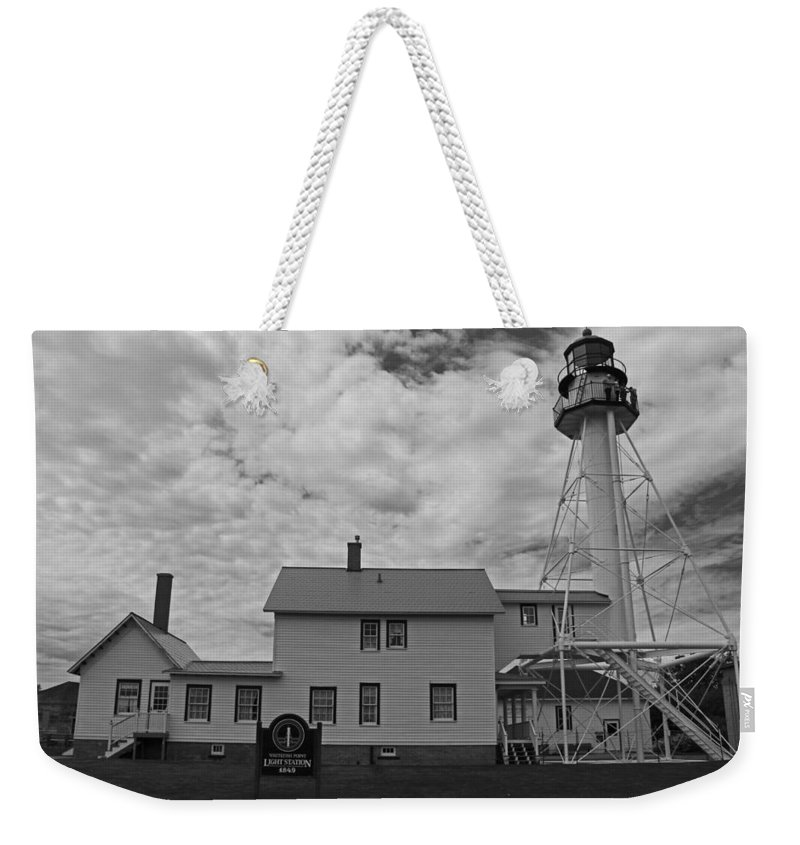 Whitefish Point Lighthouse Weekender Tote Bag featuring the photograph Whitefish Point Lighthouse by Michiale Schneider