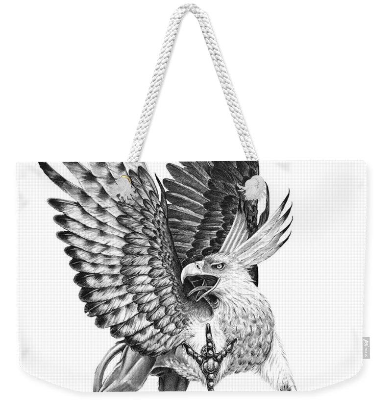 Mythology Weekender Tote Bag featuring the drawing Whitehead Griffin by Melissa A Benson