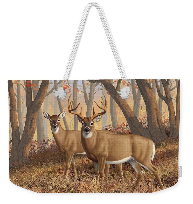 Deers Weekender Tote Bag featuring the painting Whitetail Deer Painting - Fall Flame by Crista Forest