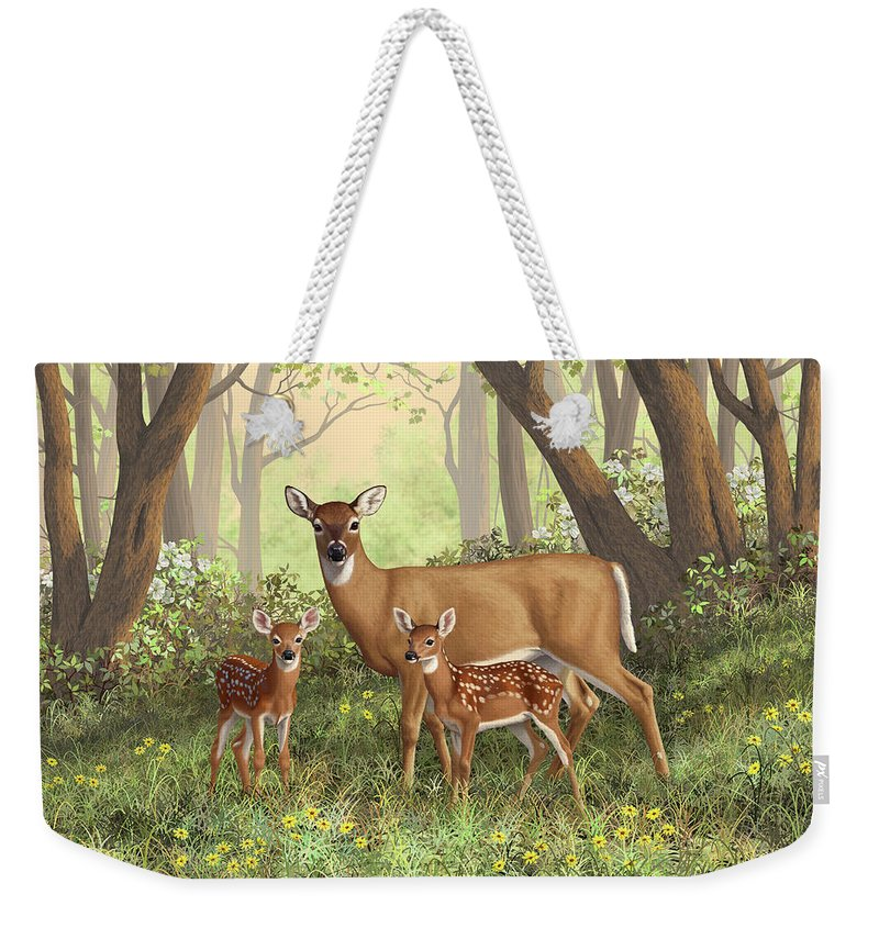 Whitetail Deer Weekender Tote Bag featuring the painting Whitetail Doe And Fawns - Mom's Little Spring Blossoms by Crista Forest