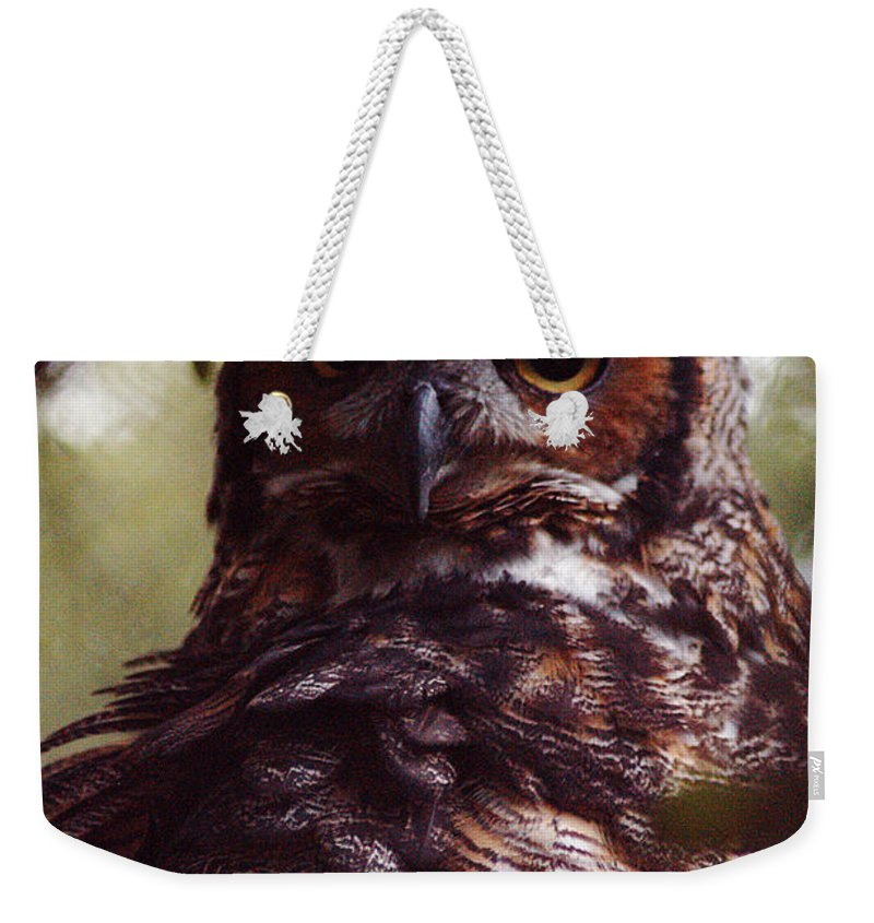 Clay Weekender Tote Bag featuring the photograph Who by Clayton Bruster