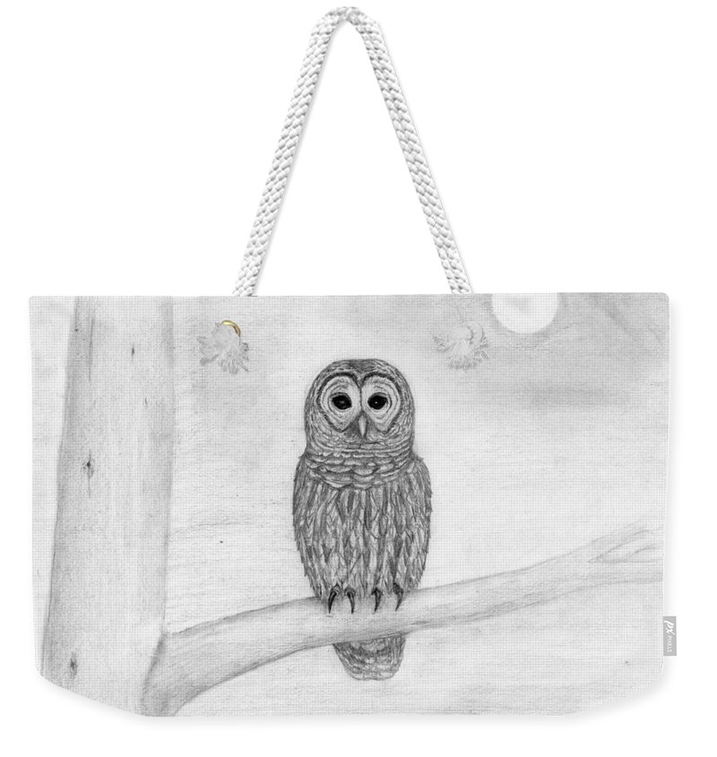 Owl Weekender Tote Bag featuring the drawing Who by George Sonner