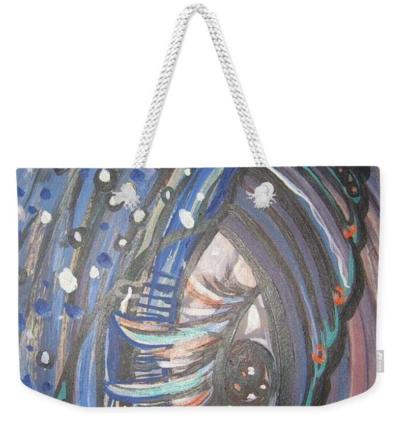Original Weekender Tote Bag featuring the painting Who Is Watching Me by Seon-Jeong Kim