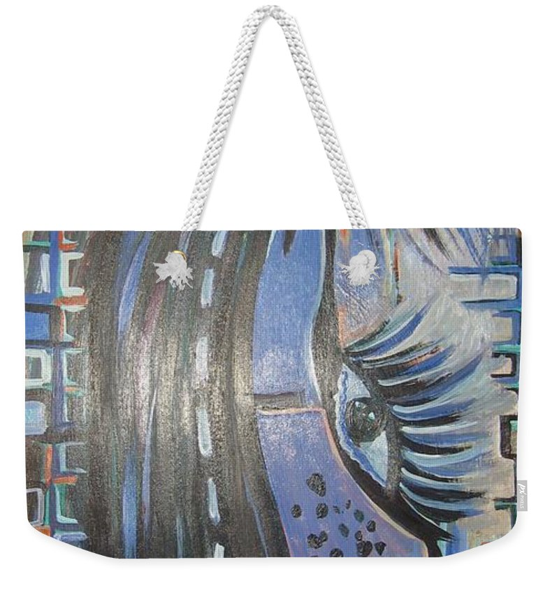 Original Weekender Tote Bag featuring the painting Who Is Watching Me1 by Seon-Jeong Kim