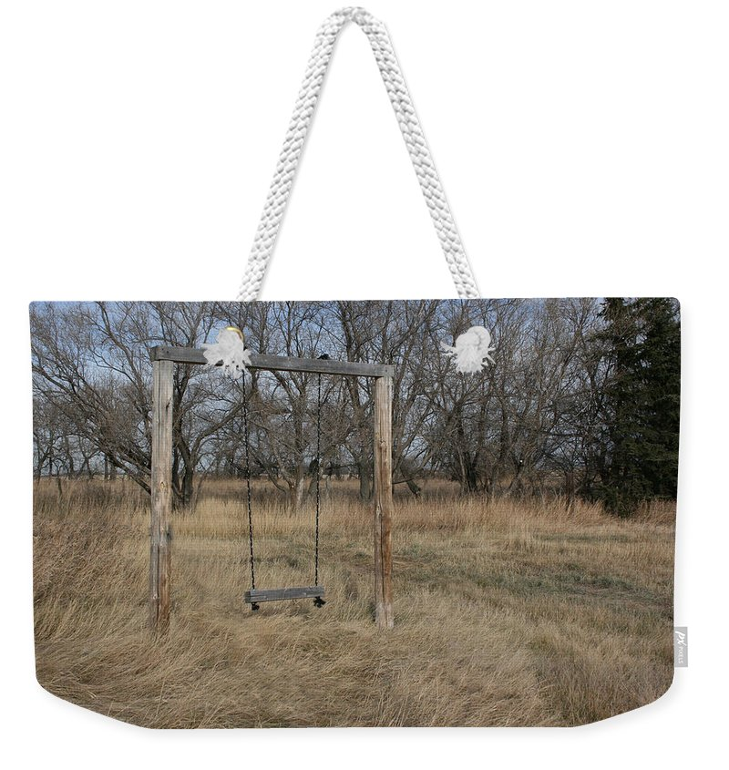 Swing Old Farm Grass Abandoned Trees Playgorund Lost Empty Lonely Weekender Tote Bag featuring the photograph Who Played Here by Andrea Lawrence