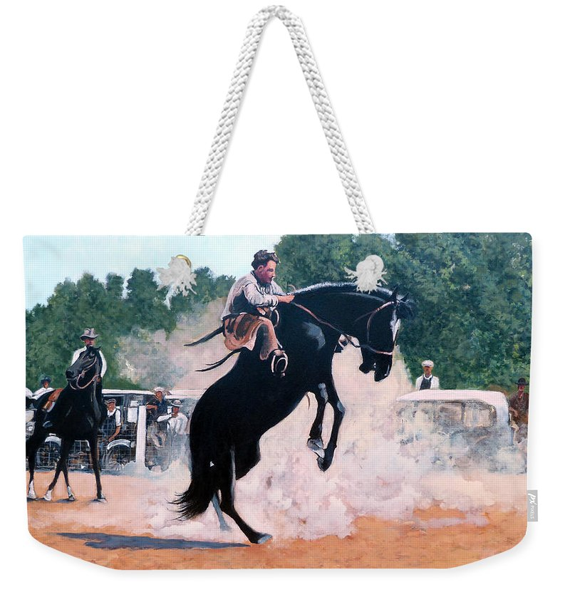 Bull Weekender Tote Bag featuring the painting Whoa Nelly by Tom Roderick