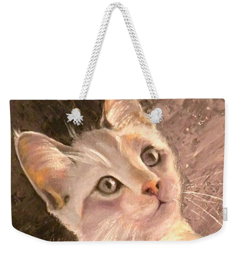 Cat Weekender Tote Bag featuring the painting Whole Lotta Lovin by Susan A Becker