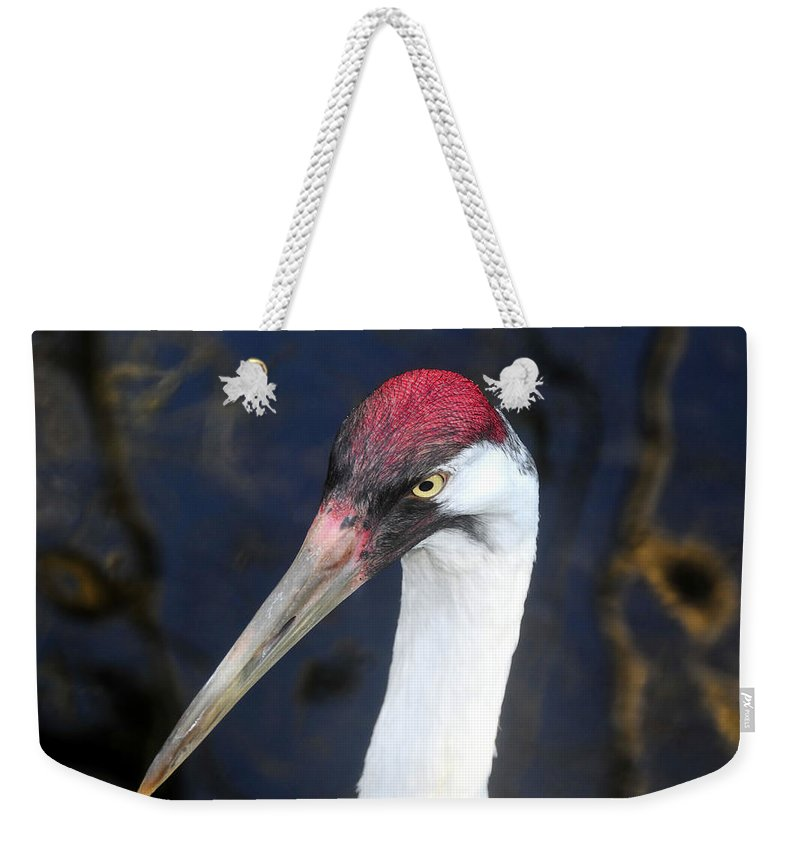 Whooping Crane Weekender Tote Bag featuring the photograph Whooping Crane Mug Shot by David Lee Thompson