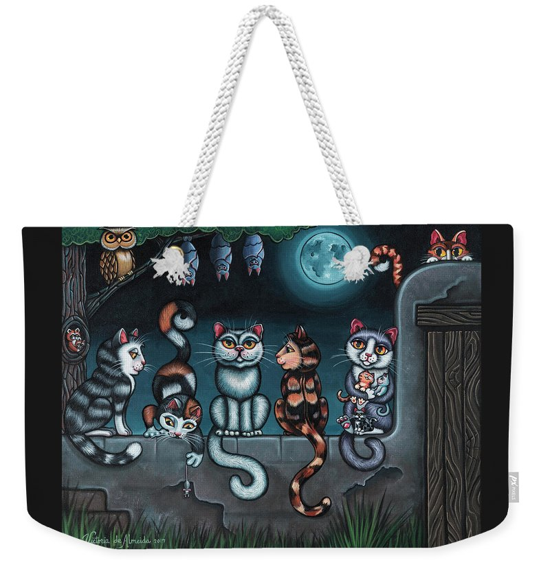 Cats Weekender Tote Bag featuring the painting Whos Your Daddy Cat Painting by Victoria De Almeida