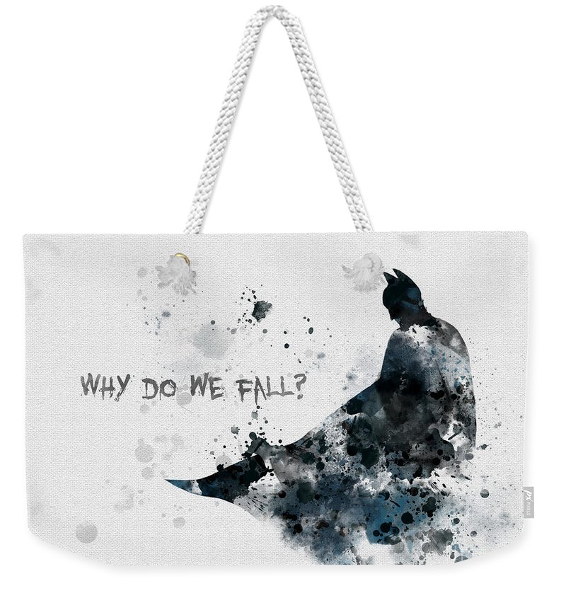 Batman Weekender Tote Bag featuring the mixed media Why Do We Fall? by My Inspiration