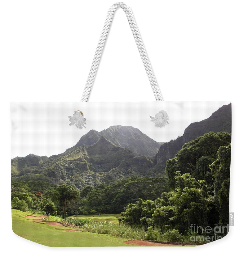Landscape Weekender Tote Bag featuring the photograph Why Golf by Ron Bissett