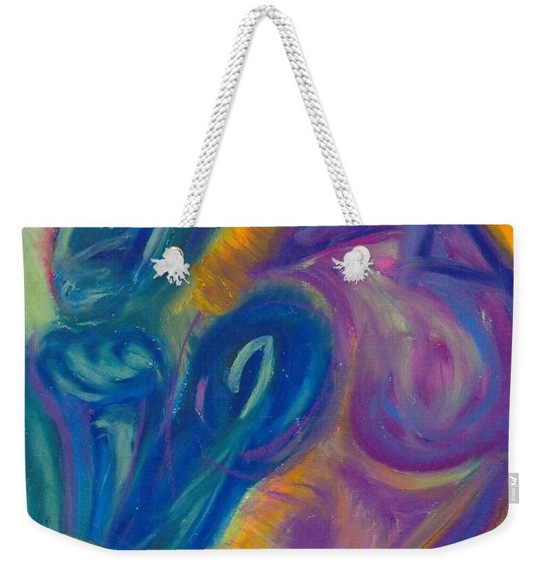 Weekender Tote Bag featuring the pastel Why by Sitara Bruns