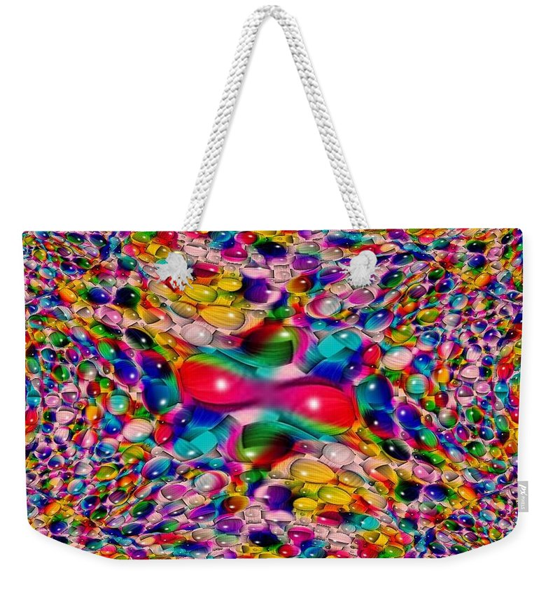Marble Weekender Tote Bag featuring the photograph Wicker Marble Rainbow Fractal by Tim Allen