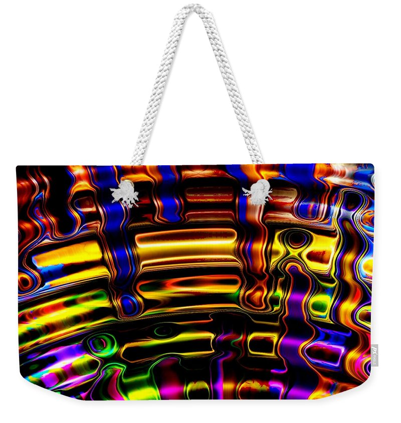 Colorful Weekender Tote Bag featuring the digital art Wide Awake by Robert Orinski