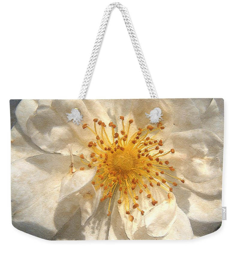 Rose Weekender Tote Bag featuring the painting Wide Open by RC deWinter