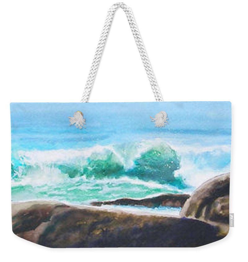 Seascape Weekender Tote Bag featuring the painting Widescreen Wave by Ken Meyer