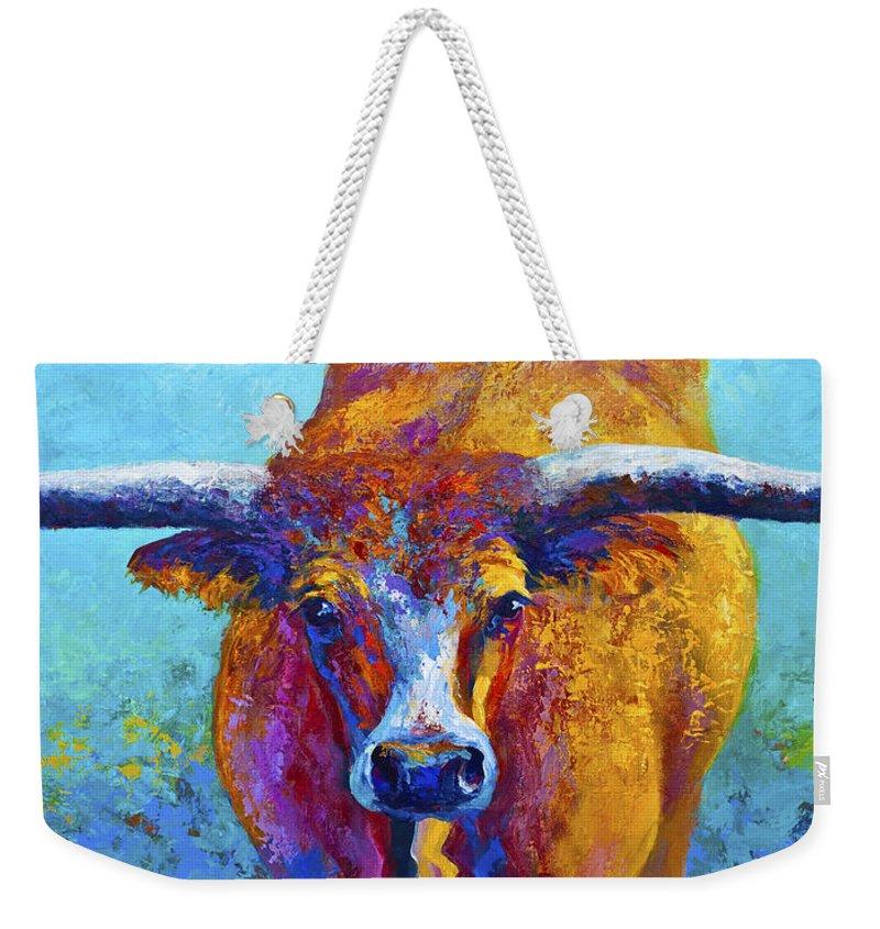 Western Paintings Weekender Tote Bag featuring the painting Widespread - Texas Longhorn by Marion Rose