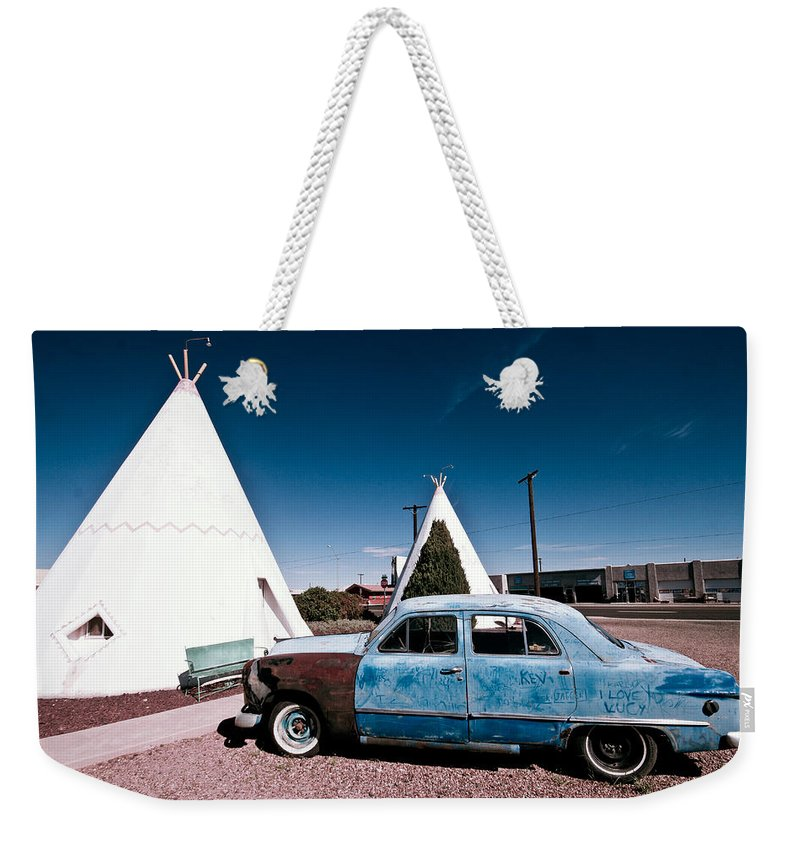 66 Weekender Tote Bag featuring the photograph Wigwam Motel Classic Car #7 by Robert J Caputo