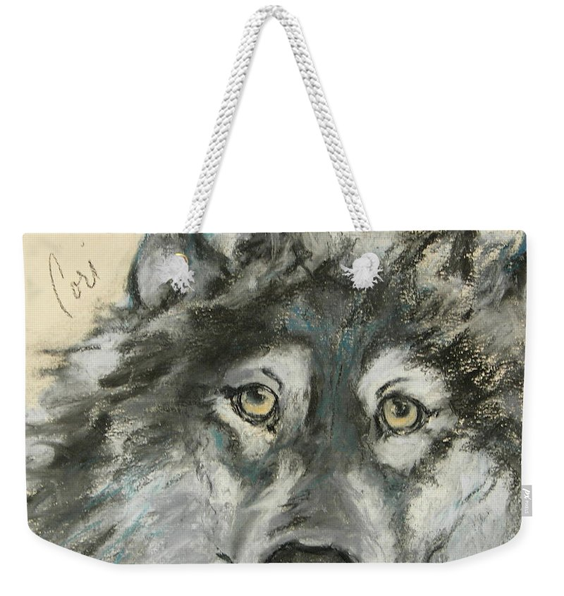 Wolf Weekender Tote Bag featuring the drawing Wild At Heart by Cori Solomon