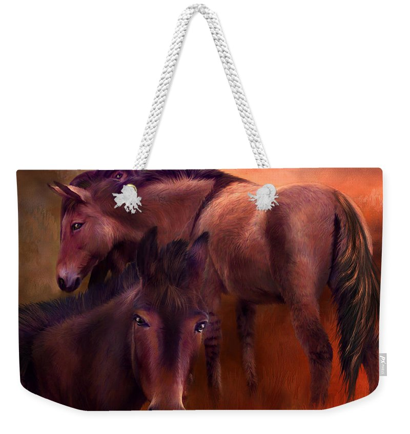 Horse Weekender Tote Bag featuring the mixed media Wild Breed by Carol Cavalaris