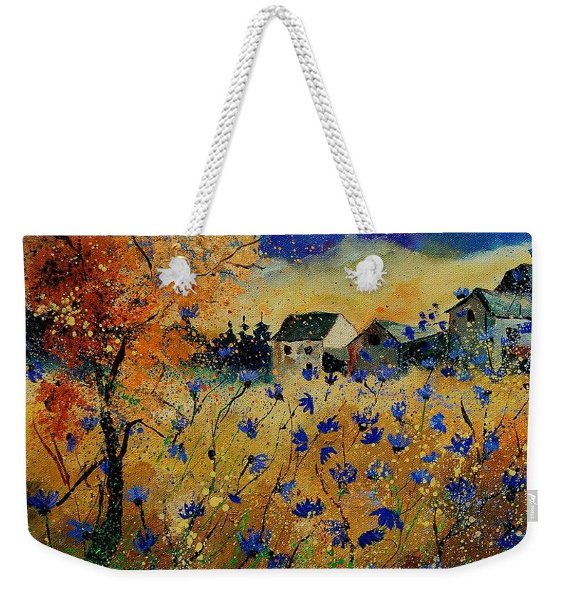 Flowers Weekender Tote Bag featuring the painting Wild Chicorees 56 by Pol Ledent