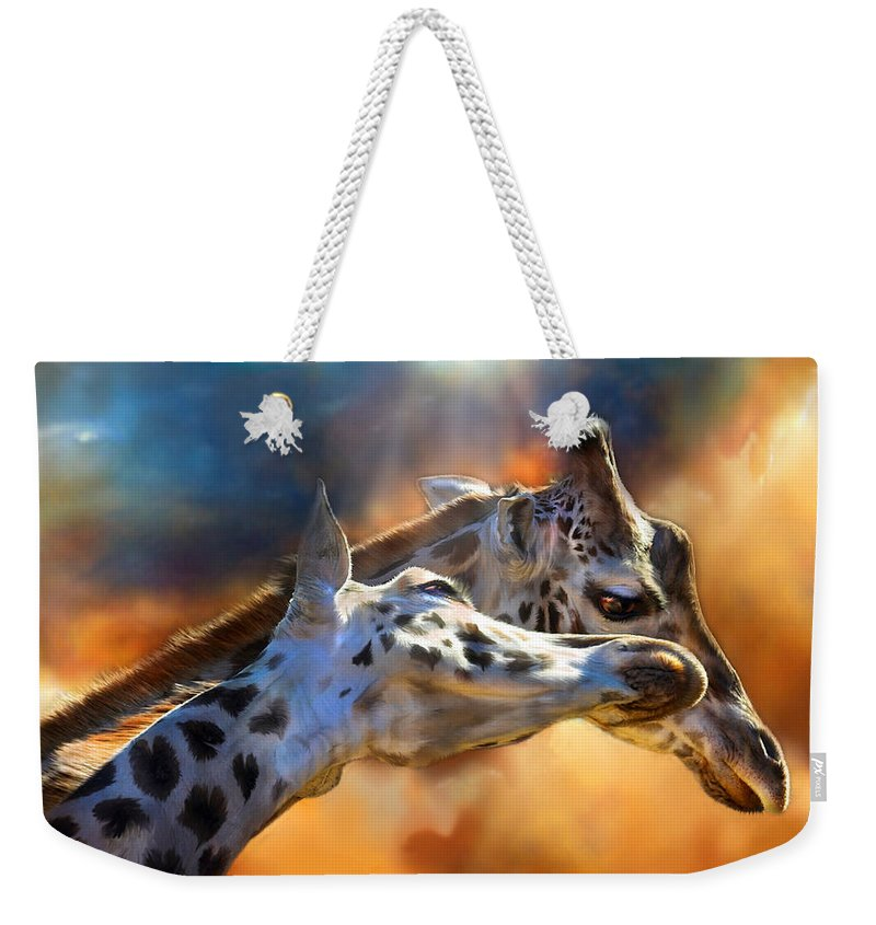Giraffe Weekender Tote Bag featuring the mixed media Wild Dreamers by Carol Cavalaris