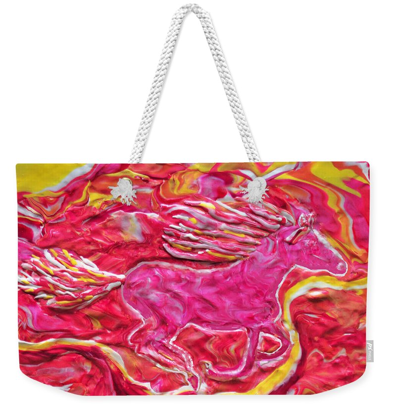 Horse Weekender Tote Bag featuring the mixed media Wild Fire by Deborah Stanley