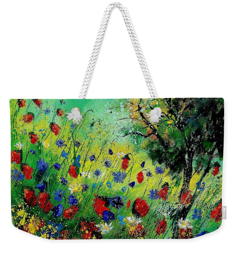 Flowers Weekender Tote Bag featuring the painting Wild Flowers 670130 by Pol Ledent