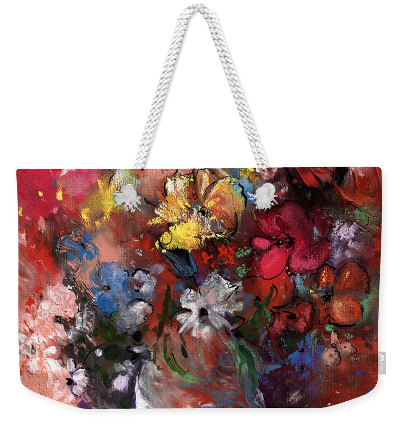 Flowers Weekender Tote Bag featuring the painting Wild Flowers Bouquet In A Terracota Vase by Miki De Goodaboom