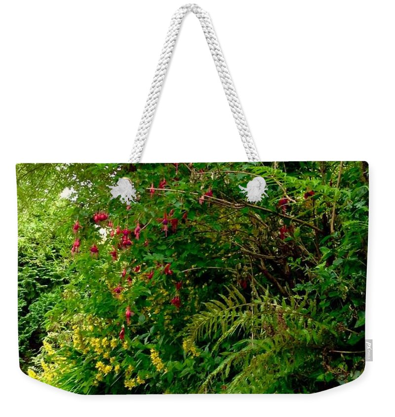 Wild Flowers Weekender Tote Bag featuring the photograph Wild Flowers On The Cliff Path by Joan-Violet Stretch
