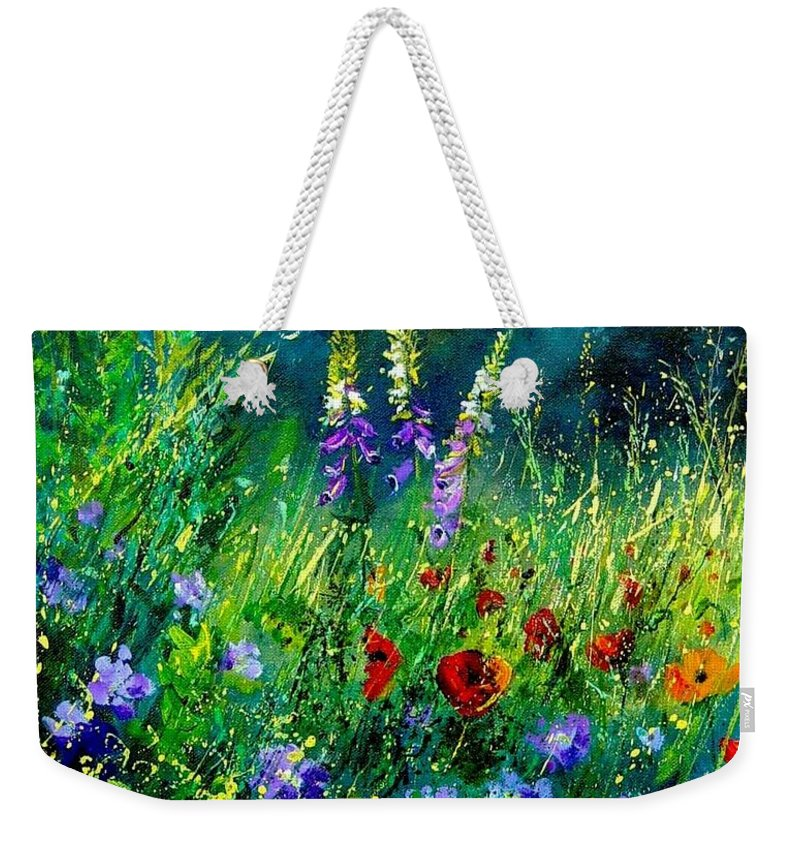 Poppies Weekender Tote Bag featuring the painting Wild Flowers by Pol Ledent